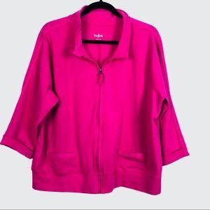 Hyba Women's Zippered Fuchsia Athletic 2X Jacket